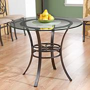 "Lucianna 38"" Dining Table with Glass Top - Dark Brown"
