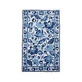 Clever Carriage Home Blue Floral Hooked Rug