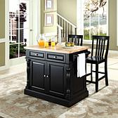 "Butcher Block Top Kitchen Island  with 24"" School House Stools"
