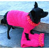 Isabella Cane Knit Dog Sweater - Fuscia with Pink Poms