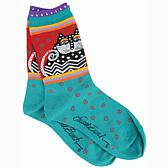 Laurel Burch Socks - Polka Dot Cats -Turquoise