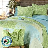 Margaritaville Patchwork 3pc  Quilt Set with Tote Bag