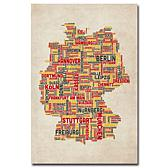 Michael Tompsett 'Germany Cities Text Map' Print