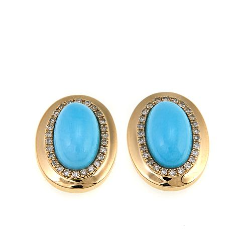 4ad1d4eb0 14K Yellow Gold Sleeping Beauty Turquoise and Diamond Stud Earrings ...