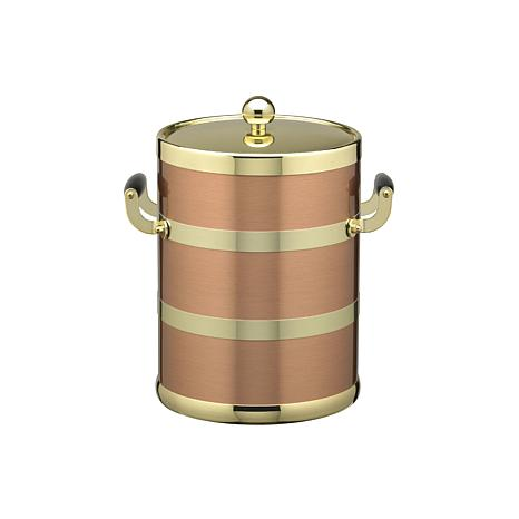 5Qt Ice Bucket, Wood Side Handles, Bands and Metal Lid