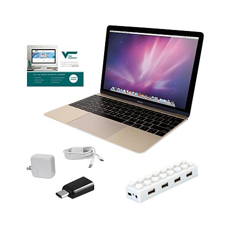 "Apple MacBook® 12"" Retina HD IPS Intel Core M, 8GB RAM, 256GB SSD Laptop with 4-Port USB Hub and 2-Year Tech Support"