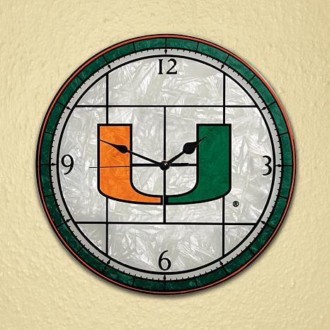 Art Glass Wall Clock - University of Miami