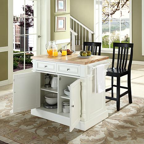 Crosley Butcher Block Top Kitchen Island with Black Barstools - White - 7743720 HSN
