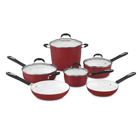 Cuisinart Elements 10 Piece Nonstick Cookware Set Red