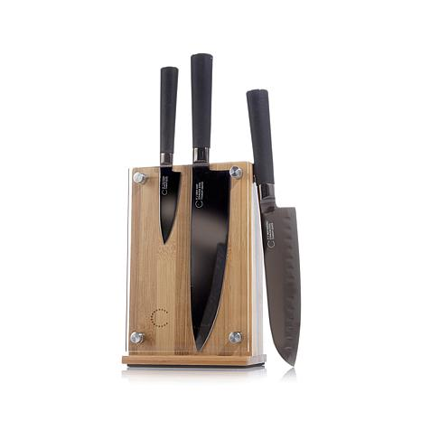 Curtis Stone 4-piece Magnetic Knife Set with Bamboo Block