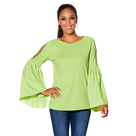 20f21843e6015 DG2 by Diane Gilman Lace Cold-Shoulder Bell-Sleeve Top - 8667840 ...