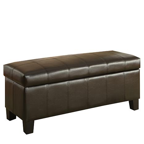 Home Origin Dark Brown Faux Leather Functional Bench 7085278 Hsn