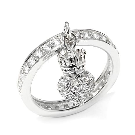 king baby jewelry 91ct cz crowned charm sterling