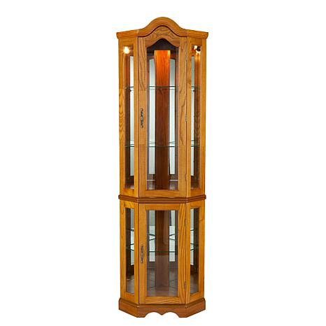 lighted corner curio cabinet golden oak 6221876 hsn. Black Bedroom Furniture Sets. Home Design Ideas
