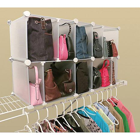 Luxury Living 10 Cubby Adjustable Park-a-Purse Organizer ...