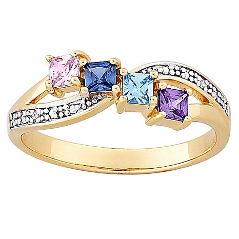 Mother S Square Family Birthstone And Diamond Accented