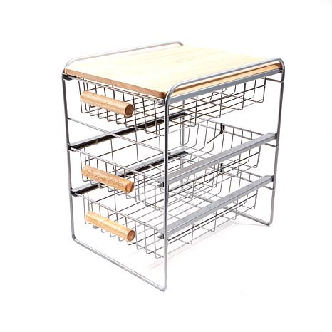 Origami 3 Drawer Countertop Organizer With Wooden Shelf 8282360 Hsn