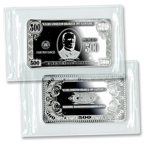 Proof Like Quarter Pound Silver Bar With 500 Bill Design