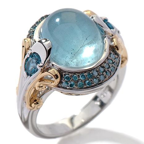 Victoria Wieck Aquamarine, Topaz and Blue Diamond Ring
