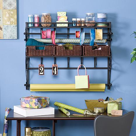 Wall Mount Craft Storage Rack with Baskets Black - 6408597 ...