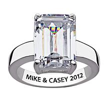 14.42ct Emerald-Cut CZ Engraved Silver Promise Ring