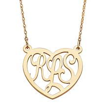3-Initial Monogram Heart Necklace