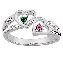 "Couple's ""Heart"" Birthstone and Name Diamond Ring"