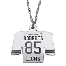 Engraved Football Jersey Silver Pendant with Chain