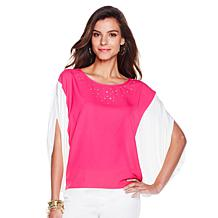 Joan Boyce Colorblock Top with Jewels