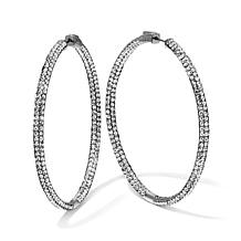 "Joan Boyce Crystal Inside Out Skinny 2"" Hoop Earrings"
