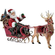 "Kurt Adler 10"" Santa in Sleigh with Deer"