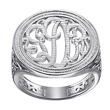 Ladies Script Circle Monogram Ring