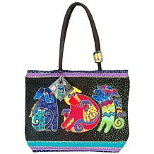 Laurel Burch Shoulder Zip Top Tote - Dogs and Doggies