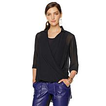 NENE by NeNe Leakes Twist Front Hi-Low Blouse