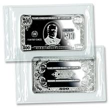 Proof-Like Quarter Pound Silver Bar w/$500 Bill Design
