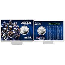 Seattle Seahawks Super Bowl XLIX Carded Silver Coin