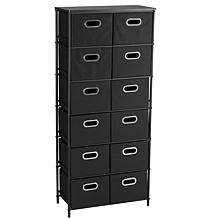 Storage Stand with 12 Bins, 2 Removable Shelves - Black