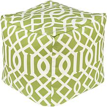 "Surya Edgy Pattern 18"" Square Pouf – Apple Green"