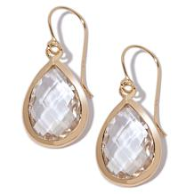 Technibond® Pear-Shaped Faceted Quartz Drop Earrings