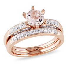1.19ctw Morganite and White Diamond Wedding Band 2pc Se