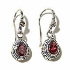 Bali Designs Garnet Sterling Earrings with 18K Accents