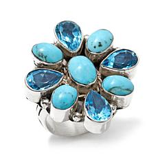 Chaco Canyon Kingman Turquoise and Blue Topaz Ring