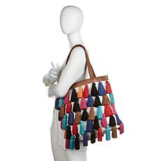 Clever Carriage Haberdashery Tassel Tote w/Leather Trim