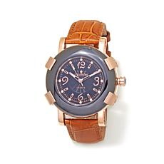 Croton Ceramic Bezel Crystal Markers Leather Watch