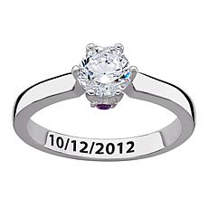 CZ Solitaire Hidden Birthstone Crystal Couples Ring