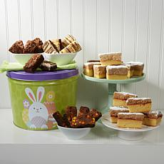 David's Cookies Bunny Tin w/32pc Brownies/Crumb Cake