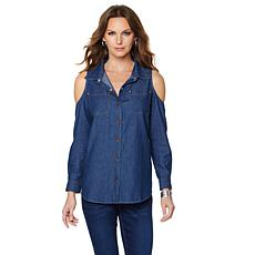 DG2 by Diane Gilman Cold-Shoulder Denim Shirt