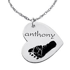 Engraved Name & Footprint Heart Pendant and Chain