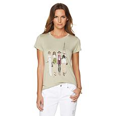 G by Giuliana Crew-Neck Tee with Illustrations
