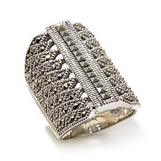 Gray Marcasite Round and Square Shield Sterling Ring